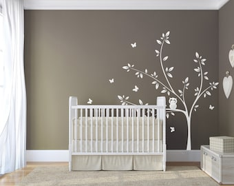 White Tree Wall Decal Owl and Butterflies,  Nursery Wall Decal, Butterfly Decal, Owl Decal, Baby Room Decor, Large