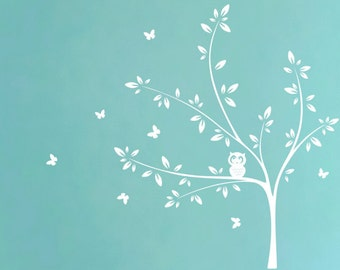 White Tree Wall Decal with Cute Owl and Butterflies,  Nursery Wall Decal, Butterfly Decal, Owl Decal, Baby Room Decor