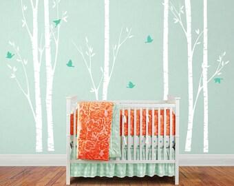 Birch Tree Wall Decal with birds Birch Tree Decal with birds for Nursery, babys Room - 6 Birch trees wall decal