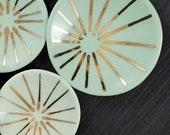 "Porcelain Ring Dish with Gold Burst Pattern - 3"""