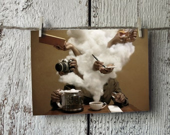 Caffeinated - Free US Shipping 4x6 Photo Postcard - Clouds Brainstorm Coffee Creative - Surreal Photography -  Fine Art - Small Print