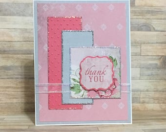 Handmade greeting card, thank you card, occasion card, pink and gray