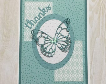 Greeting card, Handmade card, occasion card, butterfly, thank you card, green and grey