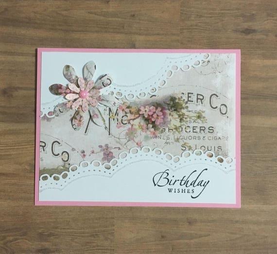 Wondrous Greeting Card Birthday Card Handmade Card Floral Design Etsy Funny Birthday Cards Online Alyptdamsfinfo