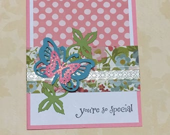 Just because card, youre special card, handmade card, greeting card, occasion card, floral design, pink, butterfly