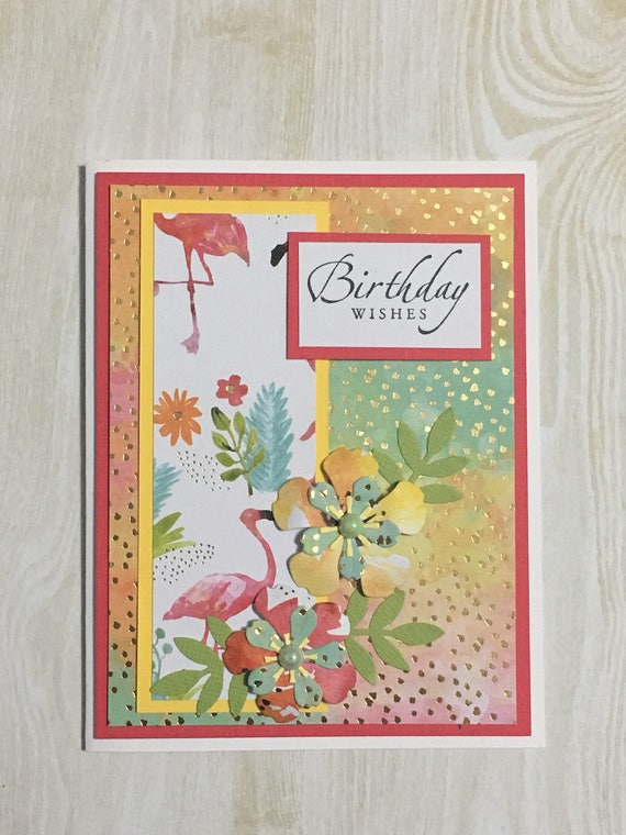 Birthday Card Occasion Card Handmade Card Floral Design Etsy