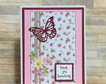 Handmade cqrd, greeting card, love you card, anniversary card, occasion card, floral design, butterfly