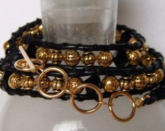 Black and Gold Leather Wrap Bracelet