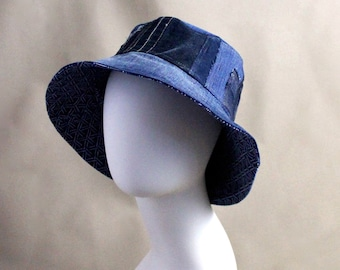 Handmade Unique Blue Denim Patchwork and Tan Striped Cotton Combo Upcycled Jeans Patchwork Reversible Bucket Hat