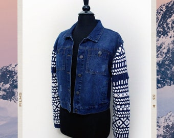 Upcycled Jean Jacket with Vintage Chunky Sweater Knit Sleeves - Sz M