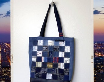 Upcycled Denim and Clothing Tags Patchwork Tote Bag Handmade Unique