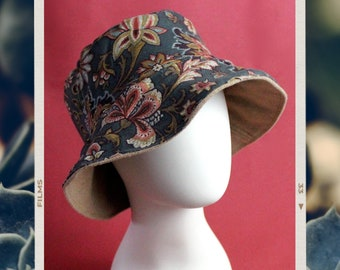 Upcycled Reversible Bucket Hat - Handmade Unique - Simple Tan Camel Wool-like and Vintage Green Floral