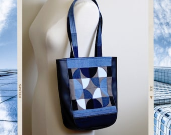 Upcycled Denim Patchwork Small Tote Bag Handmade Unique