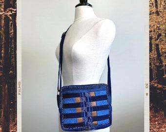 Upcycled Denim Patchwork Small Zippered Crossbody Bag Handmade Unique