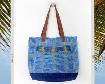 Upcycled Denim Woven Blue Fringe Tote Bag Handmade Purse