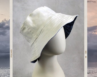 Upcycled Jeans Patchwork Reversible Bucket Hat - Handmade Unique - White Denim and Blue Geometric Print Combo