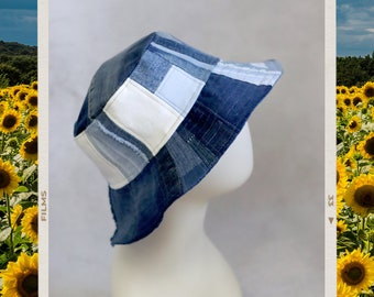 Upcycled Jeans Patchwork Reversible Bucket Hat - Handmade Unique - Blue and White Denim