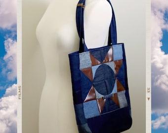 Upcycled Denim Patchwork Tote Bag Handmade Unique