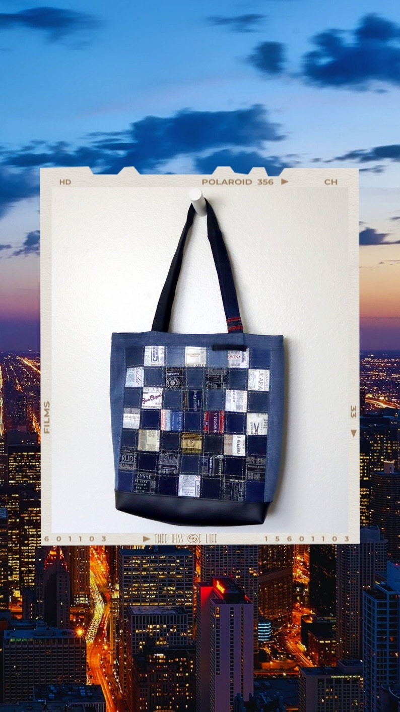 Upcycled Denim and Clothing Tags Patchwork Tote Bag Handmade image 0