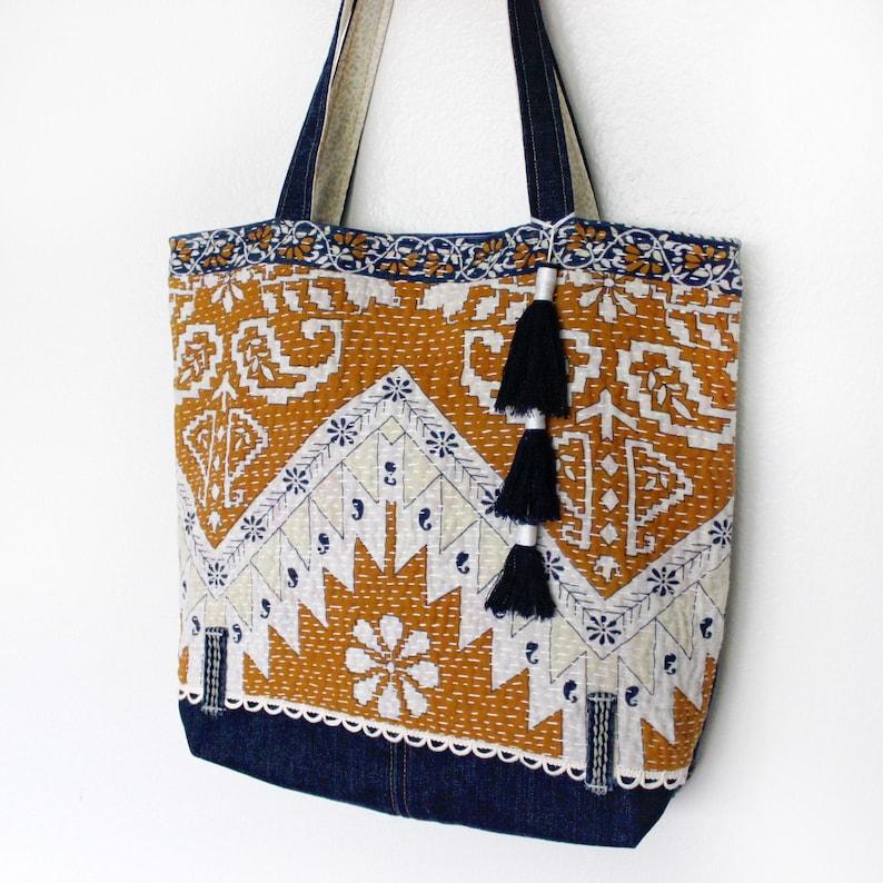 Upcycled Denim Kantha Quilt Shoulder Tote Bag Unique Handmade image 0