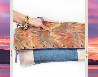 Foldover Clutch Upcycled Vintage Tapestry and Denim - Double Sided - Unique Handmade Ecofriendly