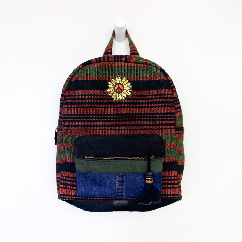 Upcycled Denim Striped Backpack with Flower Peace Sign Patch image 0