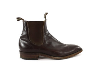Size 8    Brown Leather Ankle Boots    R.M. Williams Boots Men     Australian    Pull On Boots Men    Chelsea Ankle Boots    Beetle Boots Men ed361186883eb