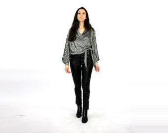 393608921 Glitter Cowl Neck Blouse 70s side tie up top Women Black   silver  Shirt  Evening Top  Iridescent  Foil Lamee dress top   Metallic disco top