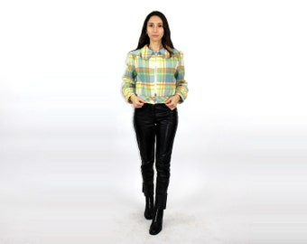 48444ebd74c1cb 70s Plaid Blazer / Pastel Wool Bomber Jacket / Womens Plaid printed coat /  70s Wool Biker Jacket / Power Suit / Boss Disco / Leisure Suit
