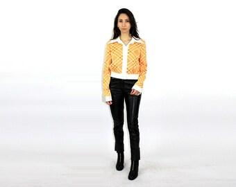 d010f57a4 Clancy JRS Shirt  Orange White   Print   Button up  1970s Shirt  Disco  Queen  70s Theme Party   Studio 54  Women Shirt   Size Medium