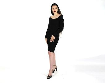 0484fd187 Donna Karan Dress   DNKY Dress   Pure Virgin Wool   Long Sleeve   Long  Dress   Peplum  80s Dress   Party Dress   Coktail   Size 6