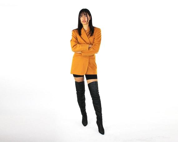 80s Gold Gucci Blazer / Wool Designer Jacket / Wom