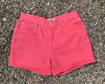 Tommy Hilfiger Pink Denim Shorts // High Waist Denim Shorts / 1990s Vintage Denim / Tommy Jeans / Jean Shorts / Coloured Denim / Tommy Girl