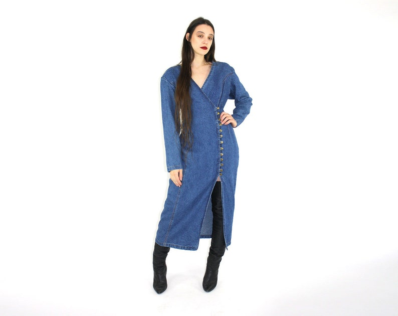 56cfec307d8 Denim Wrap Dress    Side Button Down Dress   JEAN MAXI DRESS