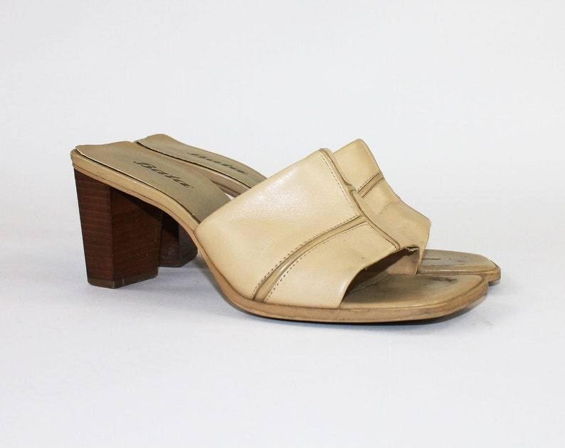 267dbf53a8327 Leather Slides / Camel Leather Platforms / Leather Heels Womens Size 8 /  Open Toe Mules / Summer Footwear / Blocked Wooden Platforms / Shoes