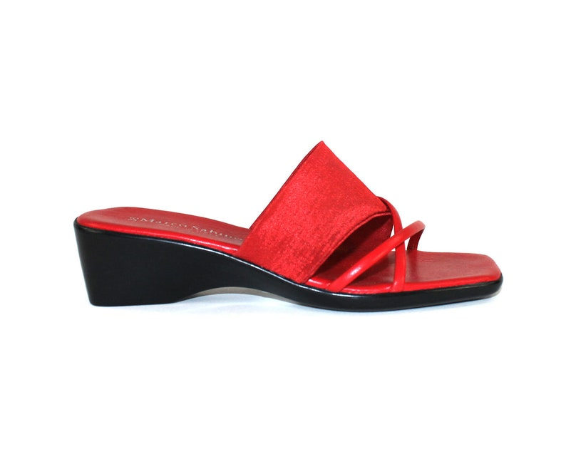 f0abc08777e Red Slides / Elastic & Leather Strappy Sandals / Wedge Womens Size 6 / Open  Toe Mules / Summer Footwear / Square toe shoes / Made in Italy