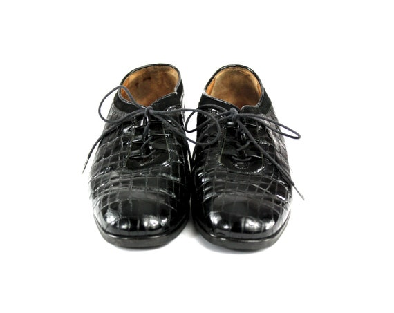 Crocodile Derby Shoes / Womens Size 8 / Lace Up S… - image 2