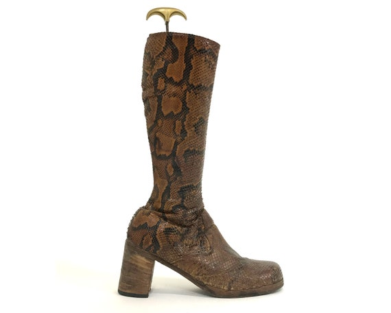 Snakeskin Leather Boots/ Womens Size 11.5 / Platfo