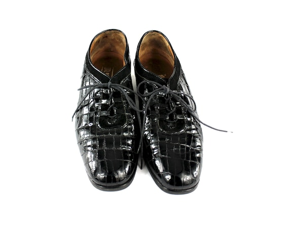 Crocodile Derby Shoes / Womens Size 8 / Lace Up S… - image 5