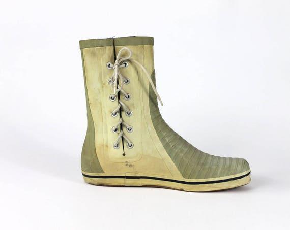 Mens Creme 90er Bis Spitze Boot 10 Wasserdicht Größe Regen Gummistiefel Stiefel Galosh Jahre 0k8wnOPX