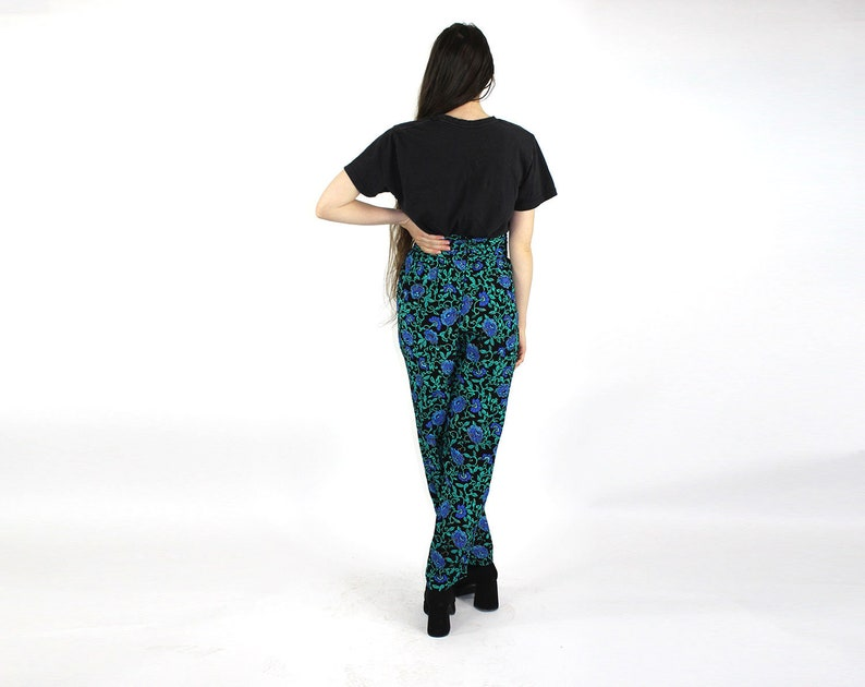 Floral High Waist Pants  Womens Size Small Medium  Blue Roses  Teal Green Black  Ruched Waistline  Relaxed Fit  1980/'s Pants