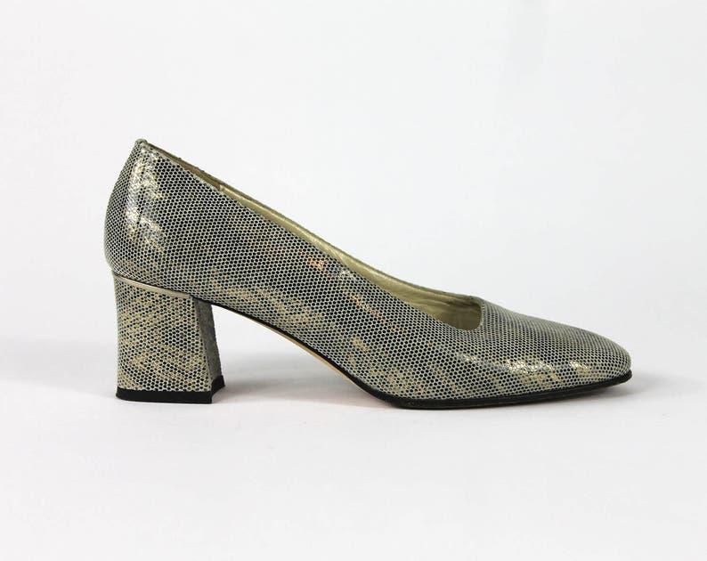 ae45372096d Size 5.5    Metallic Heels    Low Block Heel Pumps    Square