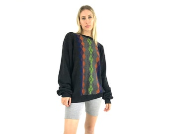 Y2K Argyle Sweater // Chunky Wool Knit / Womens Large / Unisex Black Green Sweater / Geo / Textured 2000s 00s Normcore / Summer Nights