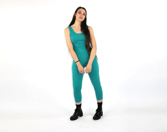 df1aa00964ad Green Jumpsuit    Teal 1980s Unitard   Vintage Catsuit   Sexy