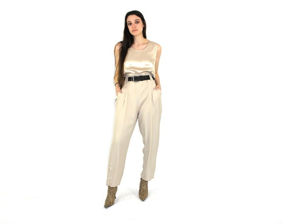 Beige Catsuit 80s Satin Jumpsuit Pleated Onesie Fashion Etsy