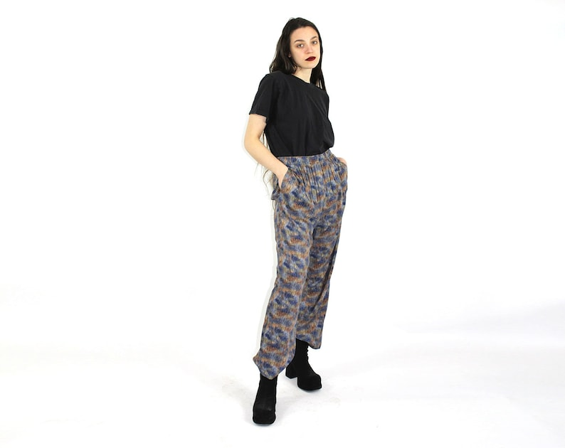 Watercolor Pants  Womens Pants  Size Medium  Elastic Waistline  Light Blue Brown Patterned  1990/'s Pants Relaxed Fitting Silhouette