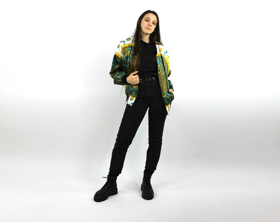 Ghetto Luxe Bomber Jacket Smooth Club Jacket Iconic 80s Oversize Art Print HIP HOP Bomber Coat Cubist Sporty Slouchy Vintage Baseball
