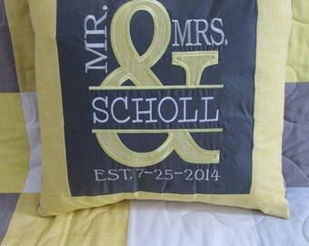 CUSTOM: BECKY Mr & Mrs. Appliqued Pillow