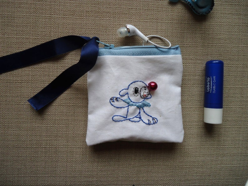 Popplio embroidered pouch