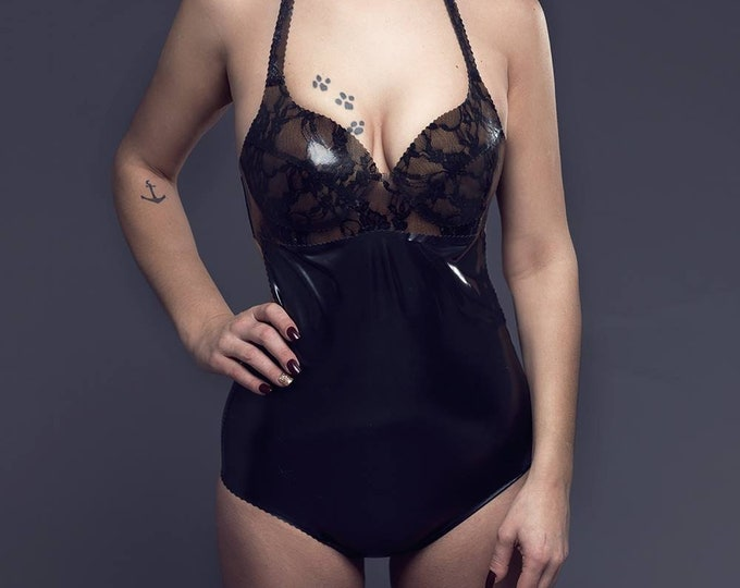 Latex Bodysuit with lace